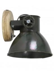 aplique industrial verde con madera-2047ZW
