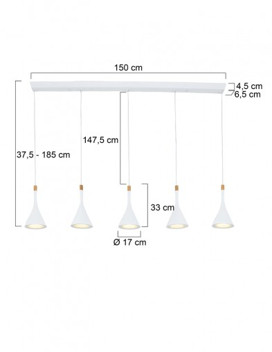lampara-blanca-cinco-luces-cornucopia-7808W-4