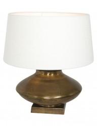 lampara bronce y pantalla blanca-9951BR