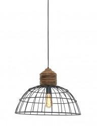 lampara colgante alambre y madera-1686GR
