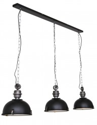 lampara colgante tres luces negra-7980ZW