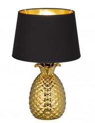 lampara con base de piña y pantalla negra-1644GO
