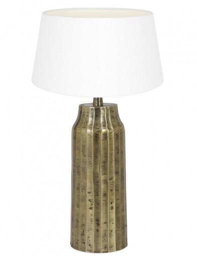 lampara con pie dorado y pantalla blanca-9285GO