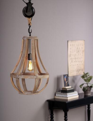 lampara de arana jaula de madera-1349BE