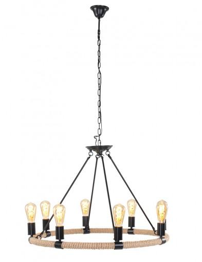 lampara de arana moderna ocho luces negra-1722ZW