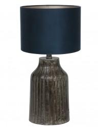 lampara de mesa azul con pie gris-9291ZW
