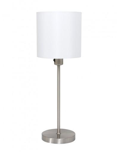lampara de mesa con pantalla redonda blanca-1563ST