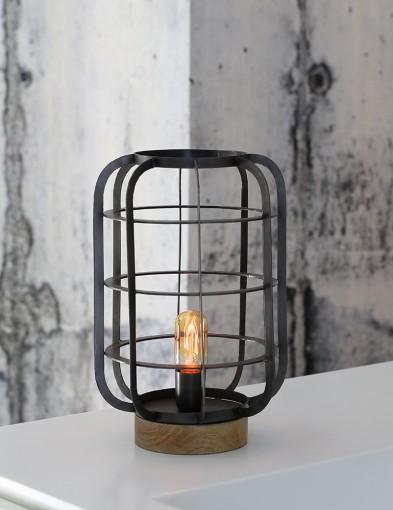 lampara de mesa estilo rustico con madera-1915ZW