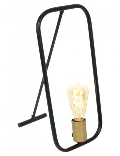 lampara de mesa negra con accesorio dorado-2422ZW