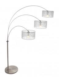 lampara de pie arco tres luces con pantalla transparente-9959ST
