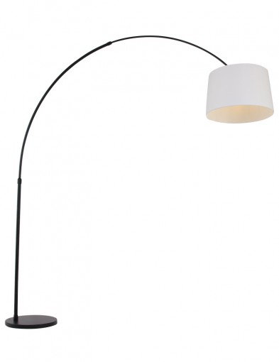 lampara de pie blanca arco negro-9829ZW