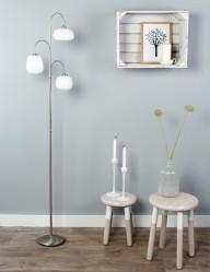 lampara de pie con tres luces de acero-1446ST