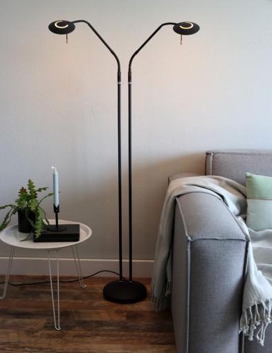 lampara de pie de dos brazos negro-1569ZW