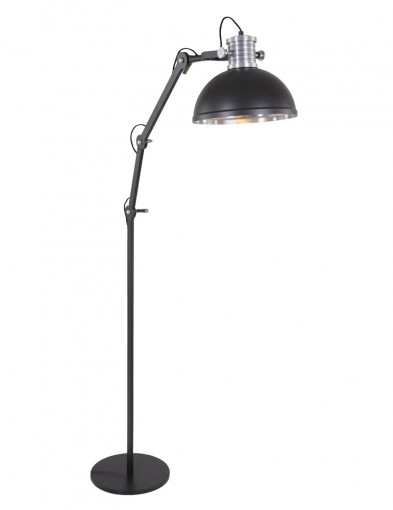 lampara de pie de metal negra-7716ZW