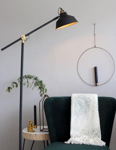 lampara de pie industrial negra y dorada-1322zw