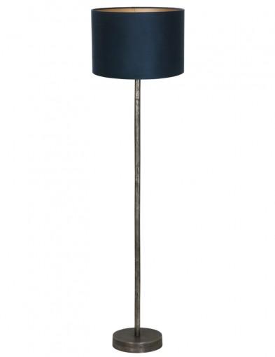 lampara de pie metalica y pantalla azul-9300ZW