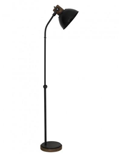 lampara de pie negra con madera-1954ZW