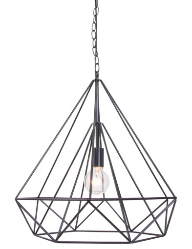 lampara de suspension de alambre negro-7598zw