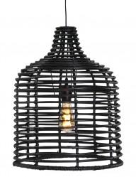 lampara de techo de mimbre en negro-1676ZW