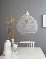 lampara de techo malla metalica en blanco-1377W