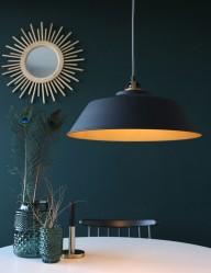 lampara de techo negra y dorada-1318zw