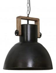 lampara industrial negra con detalle de madera-1678ZW
