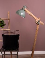 lampara industrial verde en madera y metal-1227BE