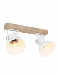 plafon dos luces blanco y madera-1379W