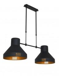 Lámpara colgante doble Mexlite Evy negro y dorado-2568ZW