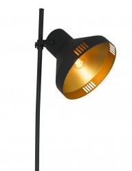 Lámpara de pie negra y dorada Mexlite Evy-2569ZW