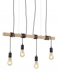 Lámpara de madera con cuatro bombillas-2607ZW