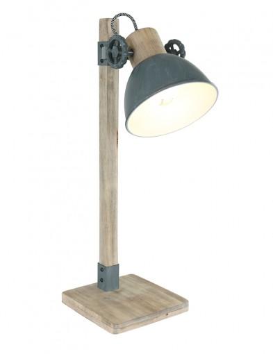 Lámpara de mesa gris rústica Mexlite Gearwood-2665GR