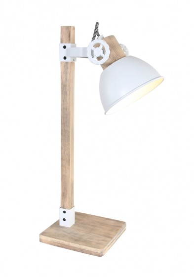 Lámpara de mesa escandinava Mexlite Gearwood blanca-2665W