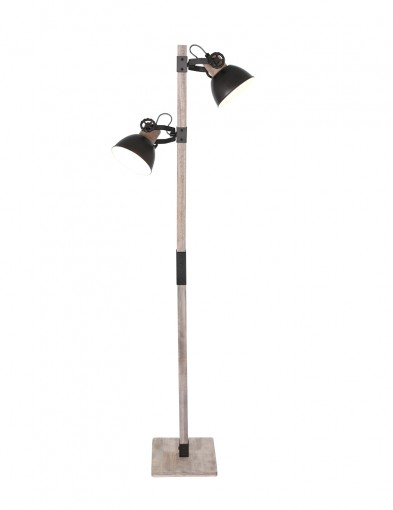 Lámpara de pie de madera Mexlite Gearwood en negro-2666A