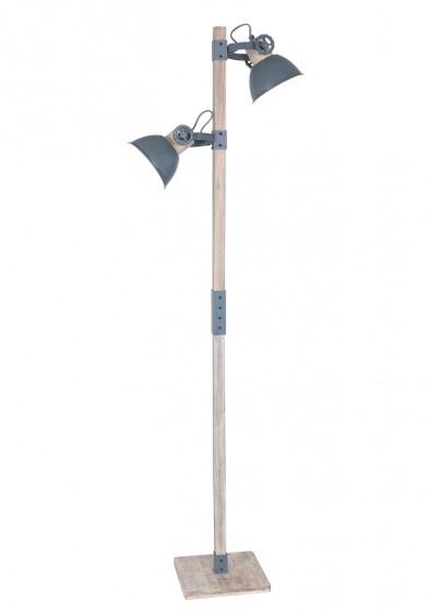 Lámpara de pie de madera con pantallas grises Mexlite Gearwood-2666GR