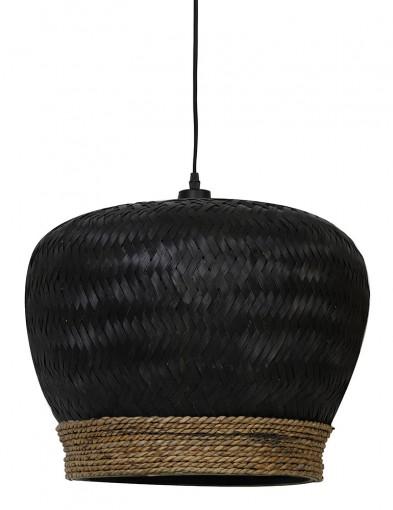 Lámpara colgante de ratán negro Light & Living Evelie-2853ZW