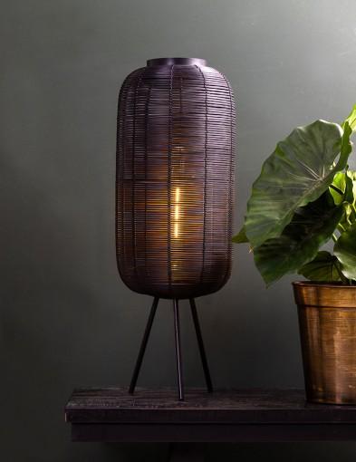 Lámpara de mesa de ratán negro Light & Living Tomek-2908ZW