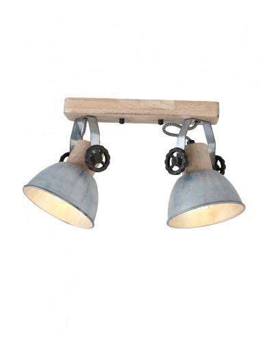 Foco doble de madera Mexlite Gearwood níquel-7969NI