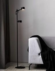Lámpara de pie negra doble foco Nordlux Clyde