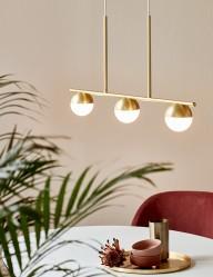 Lámpara colgante de tres esferas doradas Nordlux Contina