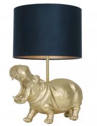 Lámpara de mesa hipopótamo con pantalla azul Light & Living Hippo