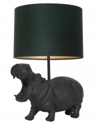 Lámpara hipopótamo con pantalla verde Light & Living Hippo