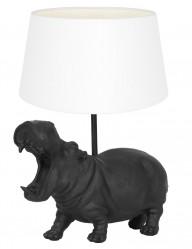 Lámpara hipopótamo negro con pantalla blanca Light & Living Hippo