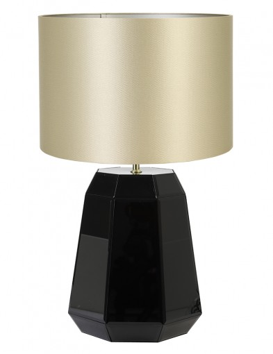 Lámpara de mesa negra de pantalla dorada Light & Living Hector