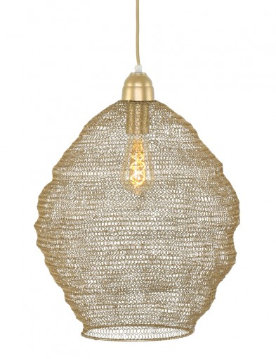 Lámpara colgante con malla dorada Light & Living Nina-1377GO