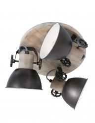 Plafón de madera 3 focos antracita Mexlite Gearwood-3063A