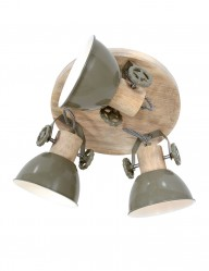Plafón industrial tres luces Mexlite Gearwood verde-3063G