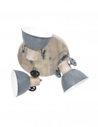 Plafón industrial tres luces Mexlite Gearwood gris-3063GR