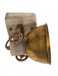 Foco en madera y bronce Mexlite Gearwood-7968BR