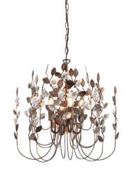 lampara de araña bronce con hojas-3150B
